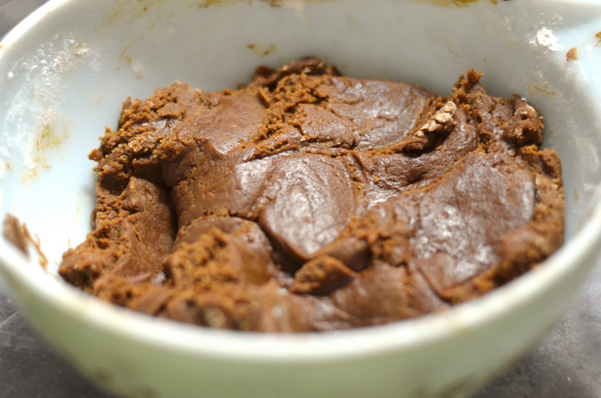 gingersnap cookie dough in a mixing bowl