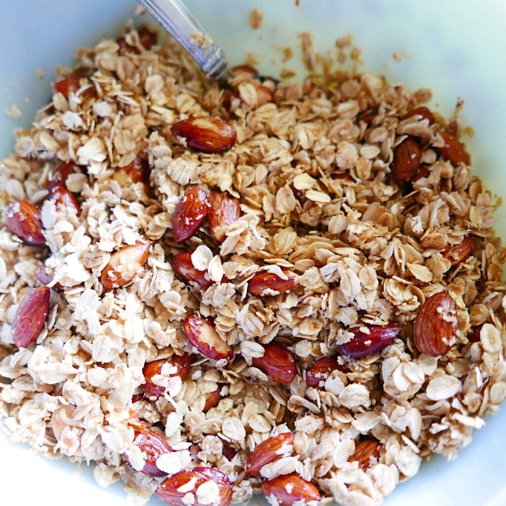 bowl of granola with toasted almonds