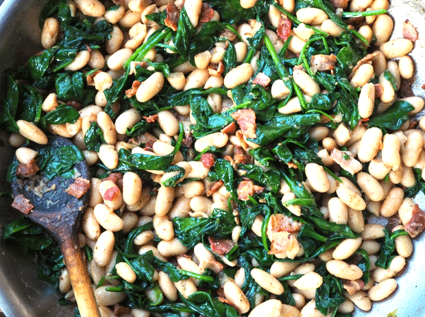cannellini beans with bacon and spinach