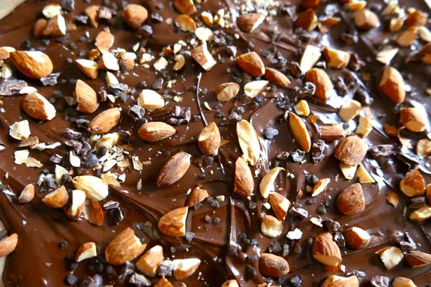cacao nib bark with almonds and sea salt