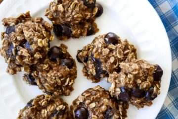 healthy banana peanut butter cookies arranged on a white plate