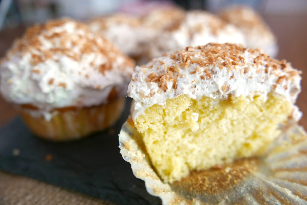 cream of coconut cupcakes with cake mix on a platter