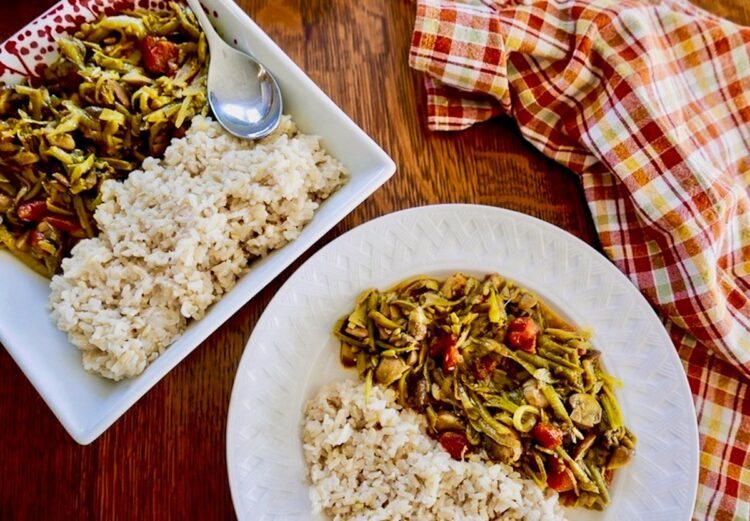 green bean and mushroom curry in a serving dish