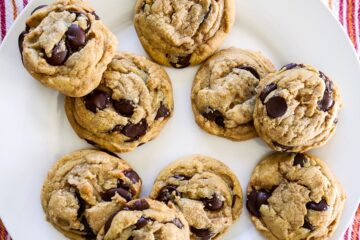 brown butter chocolate chip cookies arranged on a white platter