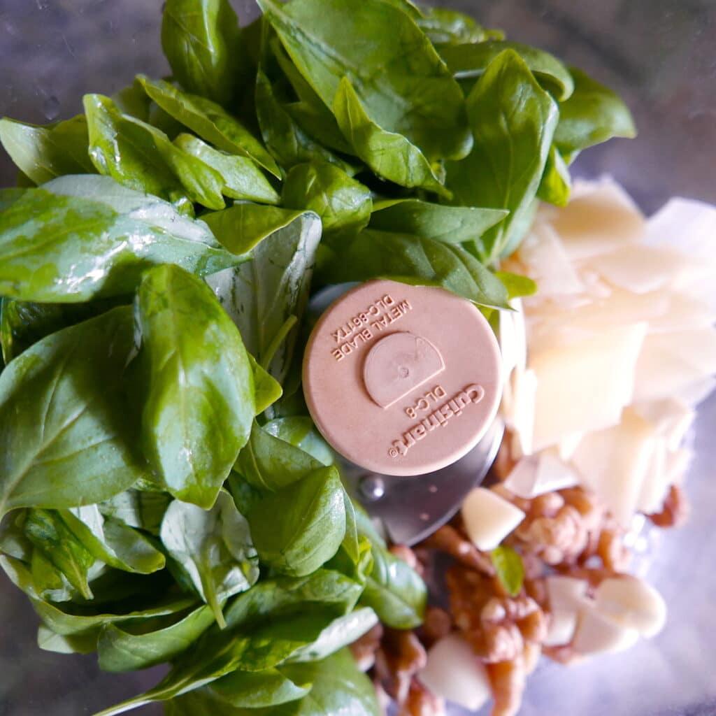 walnut pesto ingredients in food processor