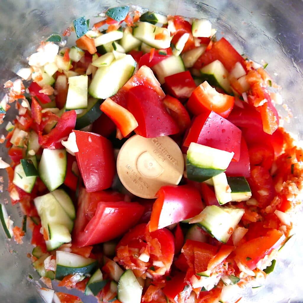 gazpacho ingredients in a food processor
