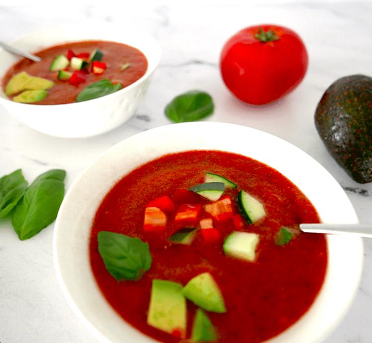 cucumber gazpacho in a white bowl