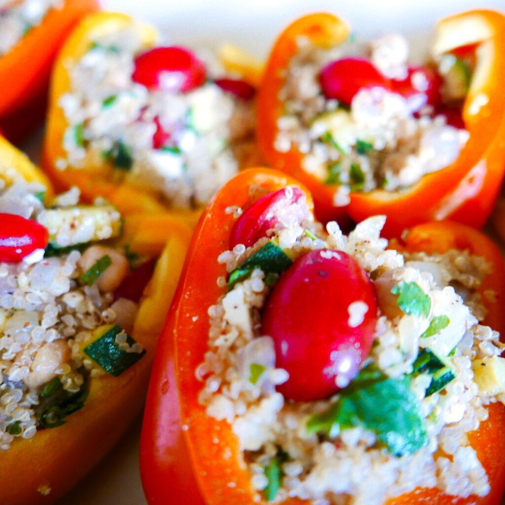 mediterranean stuffed peppers arranged in a casserole dish