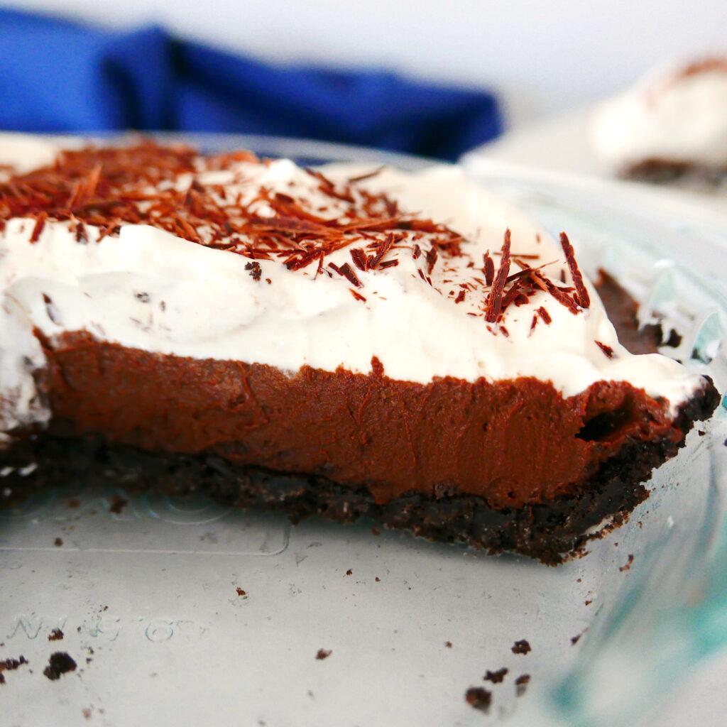 close up of chocolate cream pie in pie pan