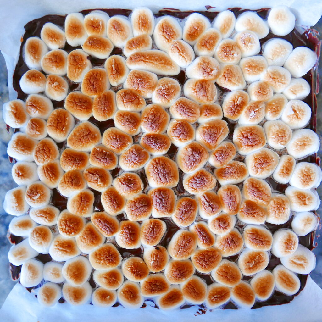 toasted marshmallows on top of a pan of bars in a glass baking dish