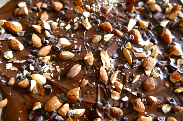 cacao nibs chocolate recipe with almonds and sea salt