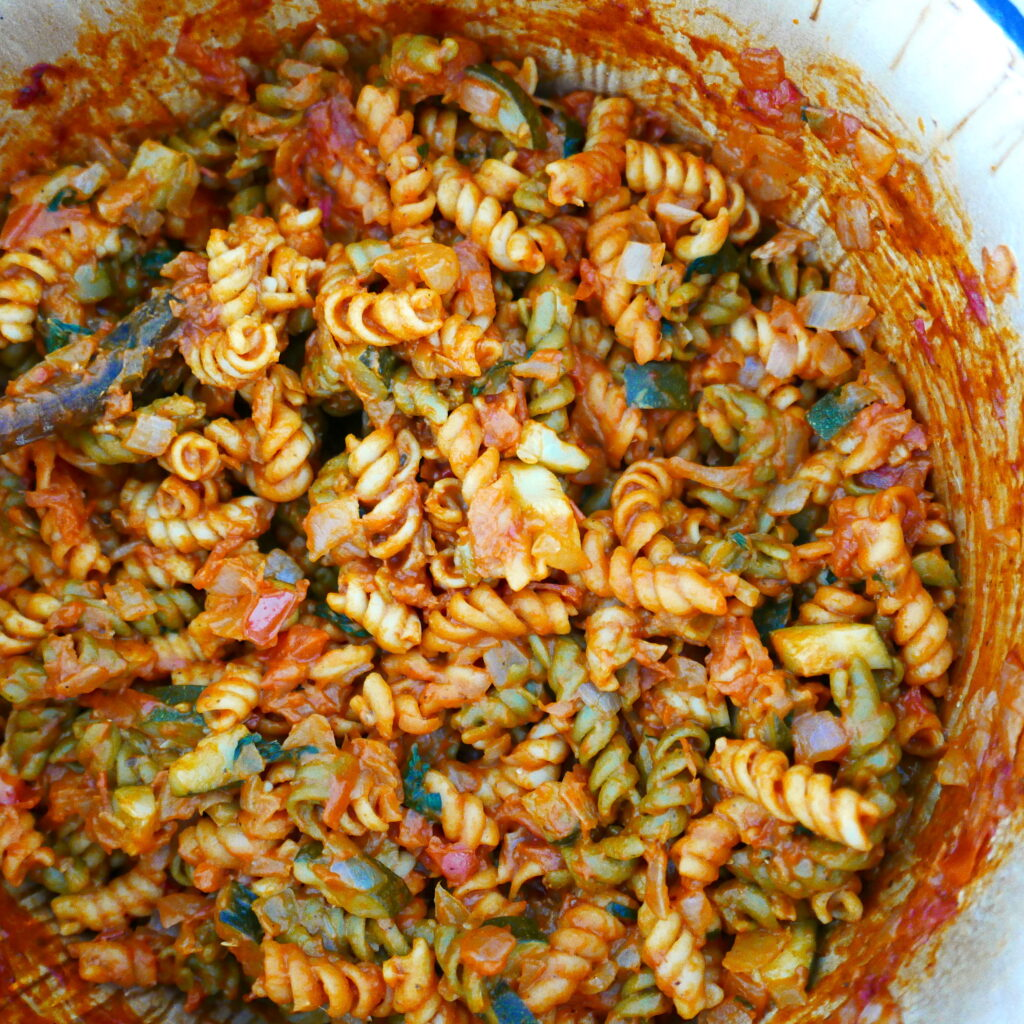 one pot pasta with tomato mascarpone sauce in a large pot