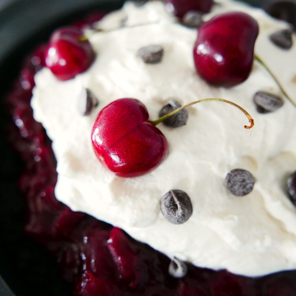 close up of black forest cherry pie