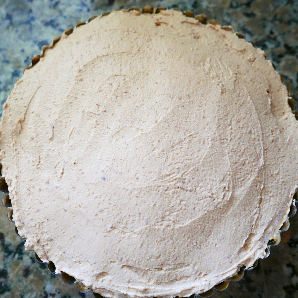 tofu peanut butter filling in a tart pan