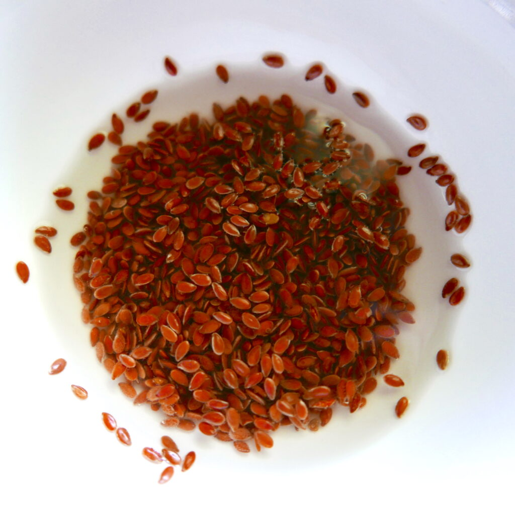flax seed mixed with water in a small white bowl