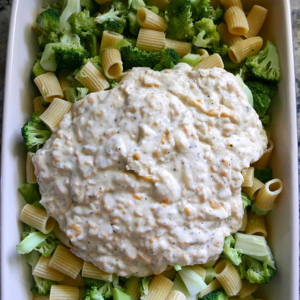 broccoli, cheese filling and pasta