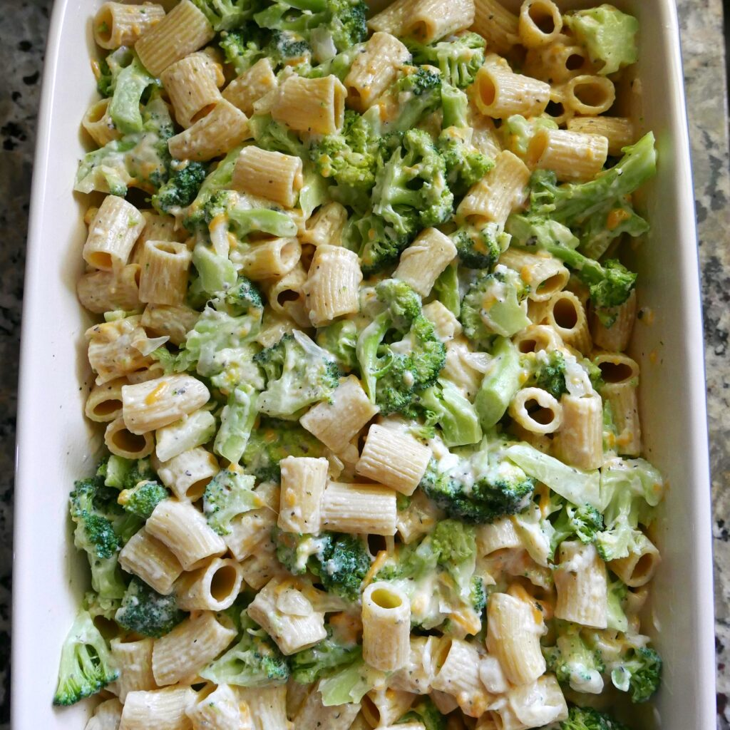 broccoli and pasta in baking dish