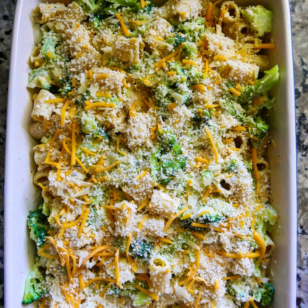 broccoli and pasta covered in cheese and breadcrumbs