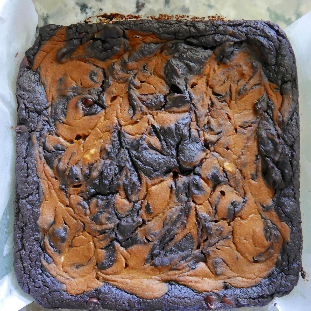 pumpkin brownies in a baking pan