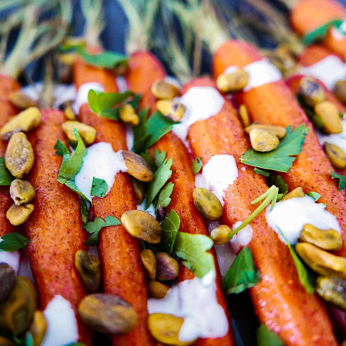 cumin roasted carrots on a platter