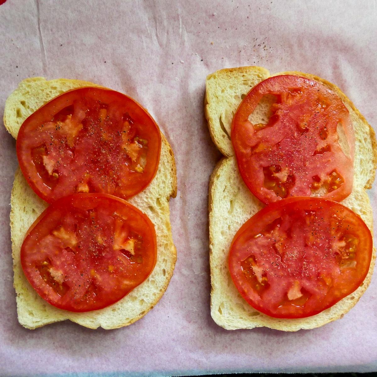 tomato slices on sourdough bread