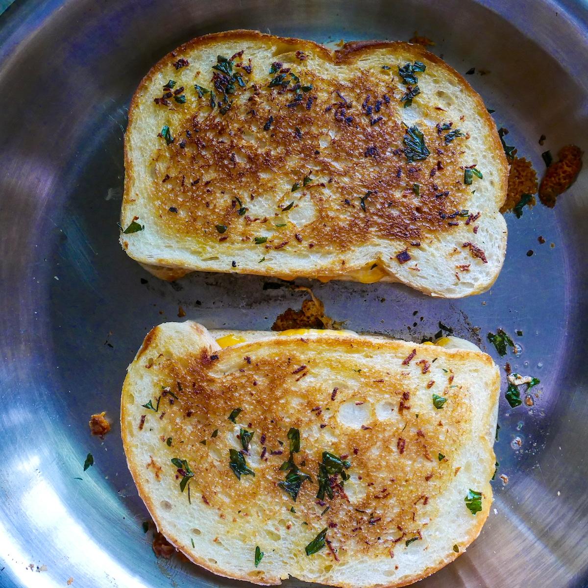 sourdough bread in skillet