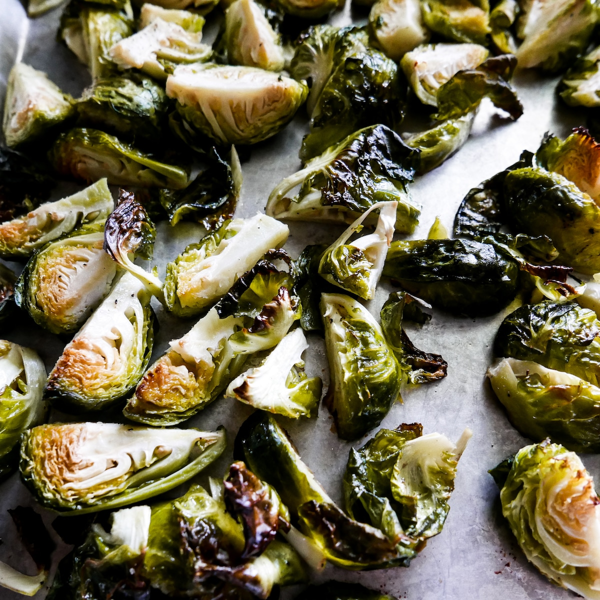 roasted brussels sprouts on a baking tray