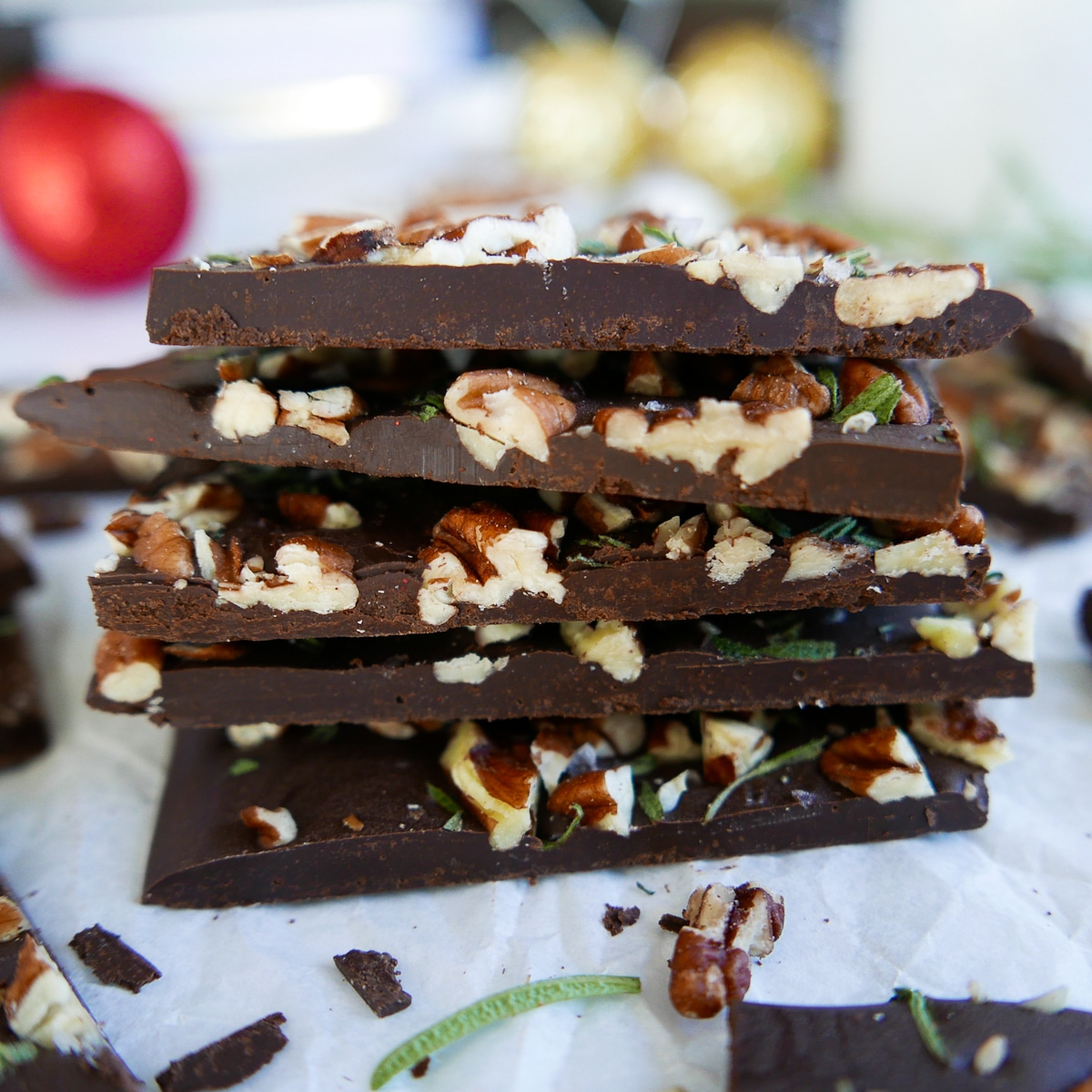 chocolate pecan bark stacked